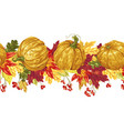 horizontal seamless line with autumn leaves and vector image