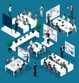 isometric concept of training staff 3d people vector image vector image