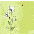 Ladybug on chamomile flower and grunge green grass vector | Price: 1 Credit (USD $1)