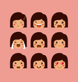 little girls emoticon set kawaii characters vector image vector image