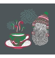 Little owl with a cup of hot tea vector image vector image