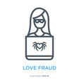 love fraud line flat icon vector image vector image