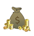 money bag with coins vector image vector image