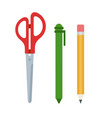 office scissors pen and pencil flat isolated vector image