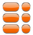 orange glass buttons with chrome frame 3d icons vector image