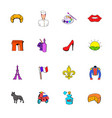 paris set icons set cartoon vector image vector image