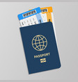 passport with boarding tickets hand drawn blue vector image vector image