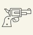 pistol thin line icon revolver vector image