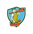 Plumber Carrying Monkey Wrench Toolbox Crest vector image vector image
