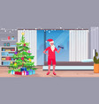 santa claus exercising with dumbbells lifting vector image vector image