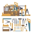 set of carpenter tools and instruments in vector image vector image