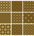 set of various seamless golden pattern vector image vector image