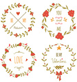 Set of wreaths for the Valentines day vector image