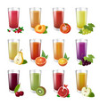 set realistic transparent glasses of juice vector image vector image
