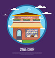 sweet shop banner in flat design vector image vector image