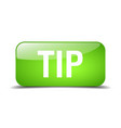 tip green square 3d realistic isolated web button vector image vector image
