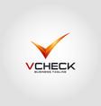 v check list - stylish letter v logo vector image vector image