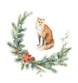watercolor christmas card with fox and fir vector image vector image