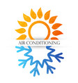 air conditioning symbol with red and blue waves vector image vector image