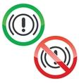 Alert permission signs set vector image vector image