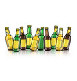 beer bottles with empty labels vector image vector image