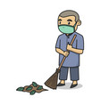 boy characters sweeps while wearing a face mask vector image