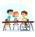 boy in wheelchair sitting at table in canteen and vector image