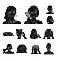 care of hair and face black icons in set vector image vector image
