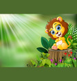 cartoon of baby lion sitting on tree stump with gr vector image