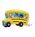 cartoon school bus with happy child students vector image