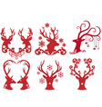 Christmas deer stag heads vector image vector image