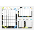 collection month weekly planner to do list vector image