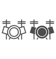 drum set line and glyph icon music and instrument vector image vector image