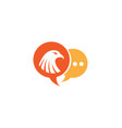 eagle head inside a chat ion for logo design vector image vector image