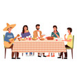 family at a mexican-style evening dinner a man vector image vector image