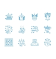 Flat blue line New Year icons set vector image vector image