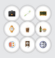 flat icon life set of watch briefcase cappuccino vector image vector image