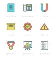 Flat line simple icons set Thin linear stroke vector image vector image