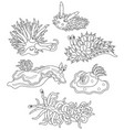 funny sea monsters - molluscs vector image vector image