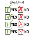green checkmark and red crosshair vector image vector image