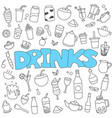 hand drawn doodle beverages set vector image vector image