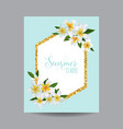 hello summer tropical card with plumeria flowers vector image vector image