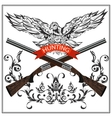 Hunting emblem eagle decorative tape gun vector image vector image