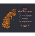 Invitation with Peacock vector image