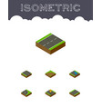 isometric road set of navigation sand plash vector image vector image