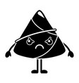 kawaii angry rice dumpling cartoon vector image