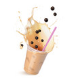 light brown cream bubble tea with milk and black vector image vector image