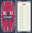 menu for restaurant with price list and fork vector image vector image