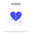 our services broken love heart wedding solid vector image vector image
