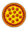 pixel pizza top view detailed isolated vector image vector image